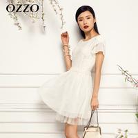 Ozzo 2013 summer new arrival sweet gauze patchwork short-sleeve slim waist lace one-piece dress 320045