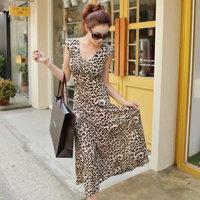 Free shipping+2014 Elastic viscose leopard print sexy full dress beach dress female V-neck slim one-piece dress
