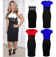 2014 women evening dress pencil dress o-Neck patchwork dress with lace 3 colors full size S-XL  XZS140042