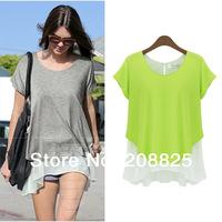 2014 Summer Brand New Women's Chiffon T-Shirt,Cotton Patchwork Lemon Green Sweet Blouses,Plus Size Women Tee Shirts