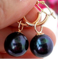 rare 11-10 mm black Tahitian pearl Swing earrings 14 k