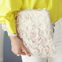 2014 women handbag clutch lace rose flower women's clutch bags casual party clutches brief  bag