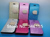 Luxury Bling Glitter Pattern Case Cover for iphone 5 5s,Wallet Pocket Purses With Stand Holder Leather ,Diamond Leather buckle