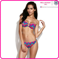 RELLECIGA 2014 New Women Swimsuit Colorful Wavy Pattern Bandeau Top Bikini Set Swimwear with Goldtone Hardware Ring Decos