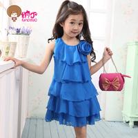 Children's clothing female child summer child 2014 chiffon sleeveless one-piece dress princess dress chiffon girl
