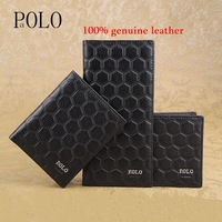 Factory Outlet 2014 New POLO brand wallet, fashion men's leather wallet, purse argyle, black, brown, wholesale and retail
