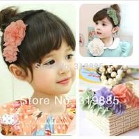 3 pcs/lot 2014 new fashion Baby accessories sweet CHIFFON FLOWER card hairbands baby Girls headwear