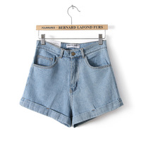 2014 spring and summer fashion vintage high waist jeans shorts all-match water wash denim shorts