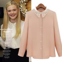 2014 blouse autumn summer long sleeve elegant embroidered beaded lace chiffon blouses & shirts women women blouse pink white