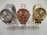 2014 Geneva Watch Full Steel Watches Women dress Rhinestone Analog wristwatches men Casual watch Unisex Quartz watches