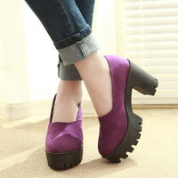 2014 spring candy color thick heel ol high-heeled shoes round toe platform women's shoes work shoes