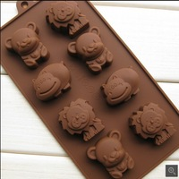 factory wholesale Lion Cubs Animals Hippo shape Muffin Candy Jelly cake Chocolate Silicone Mould Mold Baking Pan Tray CT1405