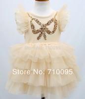 5pieces/lot, Summer Pink/beige Kids Girls Sequin Petti Dress Children Four-layer Cake Dresses, A-bg279