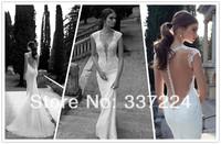 2014 New Berta Lace Sheer Mermaid Wedding Dress Deep V Neck Button Custom Size