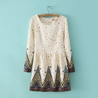 spring 2014 new European Style fashion long sleeves printing women dresses sexy High quality casual dress 5968