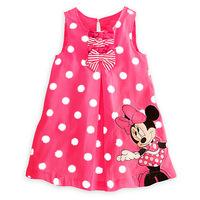 Free shipping Summer new arrival minnie mouse dot bow girl dress,children dress,kids dress girls clothing
