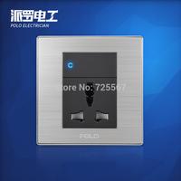 Free Shipping, POLO luxury wall switch panel, Wall Socket Panel, 1 Gang 3-hole mutifunction socket switch ,110~250V, 86*86mm