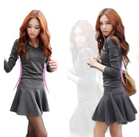 Black& Grey,spring 2014 new fashion women cotton knit basic dresses,long sleeve v-neck ruffles sexy dress,designual larger S-XL
