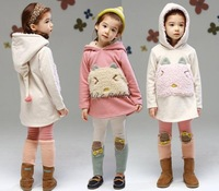 Korean children girls inverted cashmere winter coat Children Cotton velvet kitten bunny Plus cashmere sweater Sweatshirts
