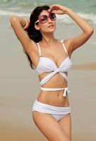 The new summer fashion sexy fashion fold color Halter Bandage Bikini