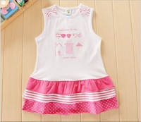 Retail New Arrival Autumn Children Cute&Casual Clothing Soft and Comfortable girls Pink Love Dress Cotton Free Shipping