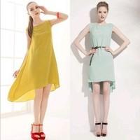 HOT SALE! European style solid color sweety dresses, elegant dresses irregular chiffon dress Free Shipping