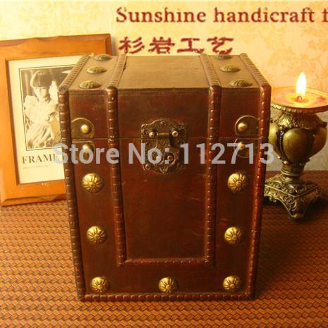 New 2014 retro style zakka makeup organizer 3 different size wooden box antique cabinet(China (Mainland))