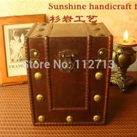 New 2014 retro style  zakka makeup organizer 3 different size wooden box antique cabinet