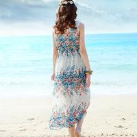 Free shipping 2014 summer new bohemian dress floral chiffon dress sundress seaside resort