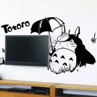 Free shipping 112*82cm Scrub wall stickers totoro umbrella series totoro tv wall stickers sofa decoration