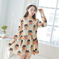 2014 women's spring elegant fox pattern print o-neck long-sleeve dress
