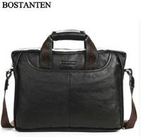 Famous Brand Business Vintage Natural Cowhide Men Briefcase Messenger Bag+ 100% Genuine Leather Men Handbag Shoulder Bag B404