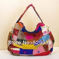 2014 desigual bag real genuine leather patchwork multicolour stripe one women messenger handbags bags bolsas direto da china