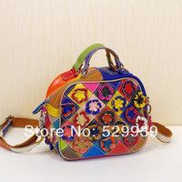 2014 women bags soft natural genuine leather handbag,female messenger bag flowers genuine leather tote bag