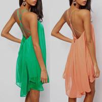 New 2014 Sexy summer dress Fashion straps metal buckle Casual dress ,3 colors, Woman chiffon dress Size S-XL Free shipping