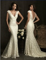 Cheap Price ! Good Quality ! 2014 New Free Shipping V Neck Cap Sleeve Lace Mermaid White / Ivory Wedding Dresses OW 83042