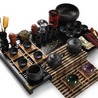 Yixing set kung fu tea set sculpture wood tea tray set yixing teapot