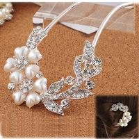 [DHL Free Shipping] Hot Selling wedding party U type elegant hairpin Petal shape pearl rhinestone crystal hair sticks 10pcs/lot