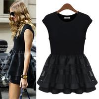 Lady casual dress fashion patchwork short sleeve summer dress female vestidos women dresses free shipping