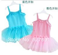 Free Shopping 2014 High Grade Child Ballet Skirt Female Leotard Princess Dance Dress Lace Flower Costume Suspender Skirt