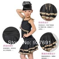 Free Shopping Child Latin Dance Skirt Female Blackleopard Dance Performance Wear Latin Skirt