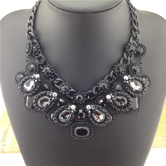 2014 Fashion High quality ZA Brand Necklace Fashion Vintage Black Necklaces & Pendants Crystal Choker Statement Necklace(China (Mainland))