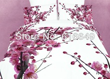 freeshipping 100% cotton 3d flower printed sheet 3d bed set /bedclothes Beautiful plum blossom oil painting queen/king size(China (Mainland))