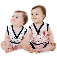 Retail new 2014 baby boy / girl clothing set girls clothing sets summer sleeveless vest + shorts kids clothes sets waistcoat