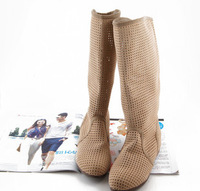 Increased during the spring and summer 2014 new fashion suede flat boots hollow mesh cool comfortable boots tendon at the end