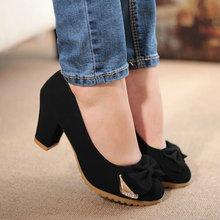 Elegant sweet 2013 single shoes women's female shoes round toe rhinestone bow thick heel single shoes(China (Mainland))