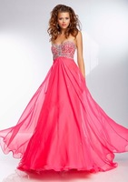 E0314 Puffy strapless chiffon sweetheart beaded prom dress