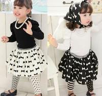 2014 new casual kids girl suit children blouse + skirt + headband 3pcs clothing sets