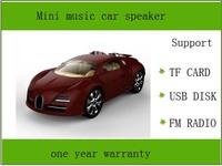 portable mini speaker with fm radio  Mini music  Car Style Speaker, Support  TF Card ,champagne color