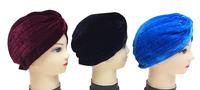 black velvet Turban Head Wrap Band Hat Cap Chemo Bandana Many Colour